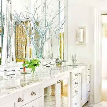 Raymond Goins - bathrooms - manzanita, branches, painted, blue, white, mirrored, double bathroom vanity, beveled, marble, countertop, double sinks, marble, tiles, floor, yellow, gray, chevron, pattern, shower curtain, mirrored bathroom cabinets, white mirrored bathroom cabinets,
