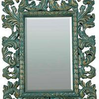 Mirrors - Large Baroque Acanthus Mirror in Cyan - large, baroque, acanthus, mirror, cyan