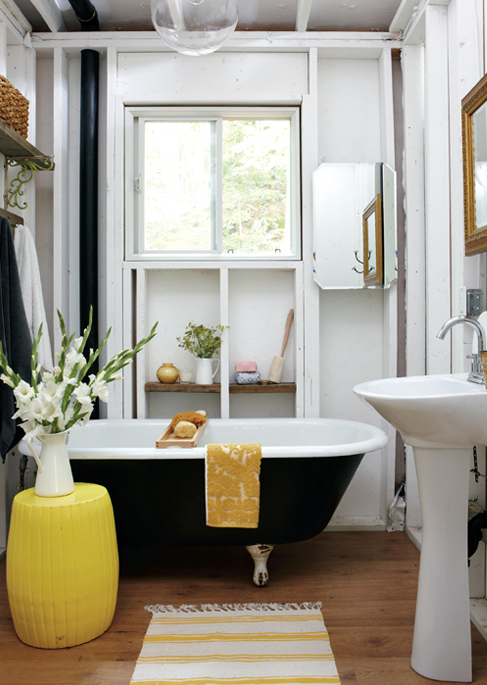 Black and yellow bathroom cottage bathroom style at home for Black white and yellow bathroom ideas