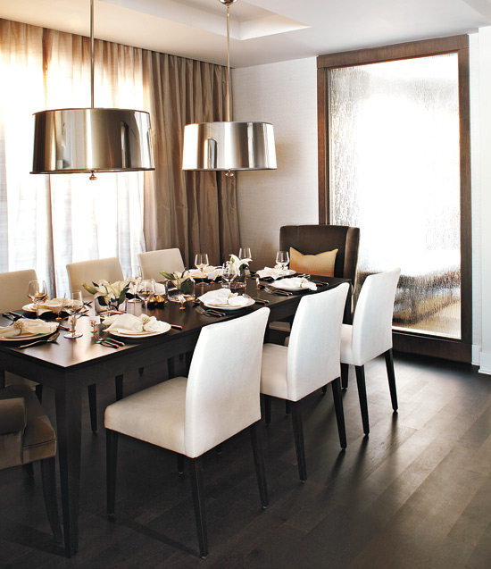 Suzie: Kelly Deck Design - Modern dining room with wood floor mirror, gray walls paint color, ...
