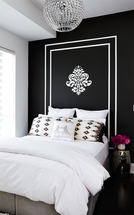 Style at Home - bedrooms - black, accent, wall, white, painted, frame, headboard, silver, garden stool, crystal chandelier, gray, bed skirt, painted headboard,