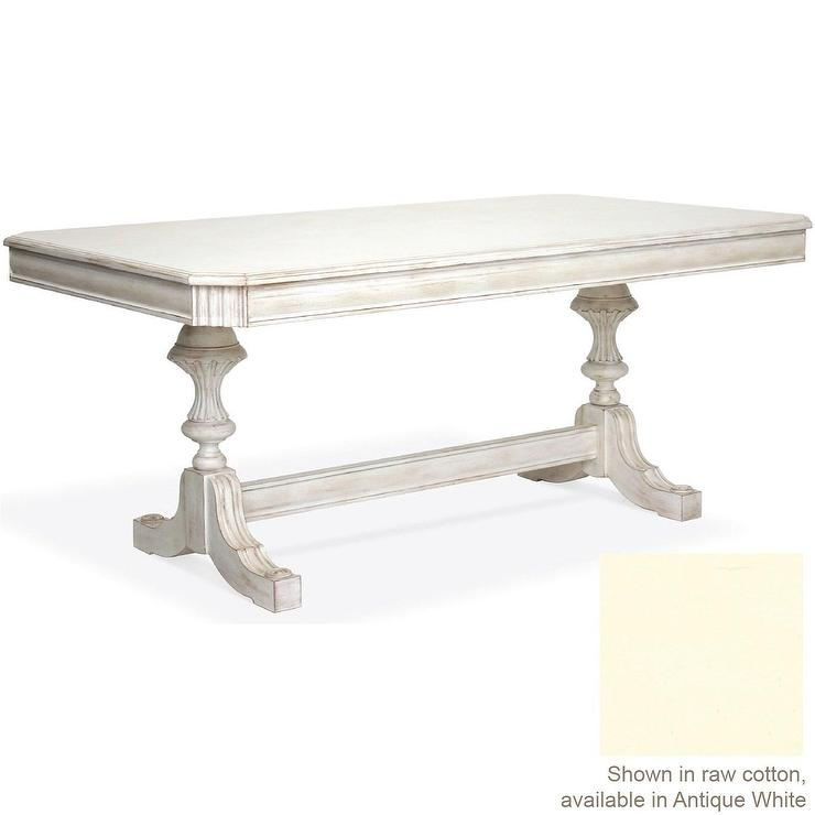 Tables - Carved Dining Table in Antique White - antique, white, carved, dining table