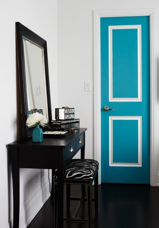 Blue Foyer Door : Zebra ottoman contemporary entrance foyer style at home
