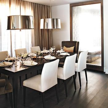 Kelly Deck Design - dining rooms - chocolate, brown, wingback, velvet, captain, dining chairs, white, parsons, side chairs, espresso, dining table, wood, floor, wood, floor mirror, polished nickel, drum, pendants, taupe, silk, drapes, dining room mirror,