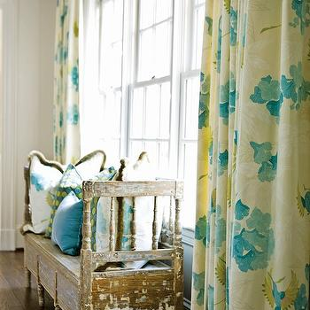Meg Adams Interior Design - dining rooms - reclaimed, wood, bench, blue, yellow, pillows, teal, blue, yellow, drapes, turquoise and yellow drapes, turquoise and yellow curtains, turquoise and yellow window panels,