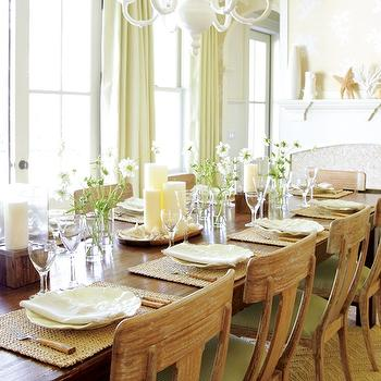 dining rooms - salvaged wood, dining chairs, green, cushions, reclaimed wood, dining table, tan, herringbone, pattern, wool, rug, fireplace, wall, French, doors, ivory, silk, drapes, white, chandelier, klismos chairs, klismos dining chairs,