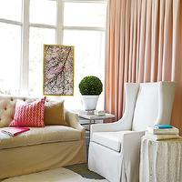Atlanta Homes & Lifestyles - living rooms - white, cowhide, rug, tan, tufted, slipcover, sofa, white, wingback, slipcover, chair, blush, pink, silk, drapes, marble, top, accent table, silk curtains, pink curtains, pink drapes, silk drapes, pink silk curtains, pink silk drapes,