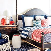 Style at Home - bedrooms - black, gold, antique, poster, bed, black, gold, nightstand, white, double gourd, lamp, red, Buddha, head, statue, white, garden stool, white, wicker chair, blue, cushions, blue, scroll, rug, white, blue, awning, stripes, pillows,