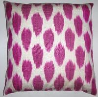 Pillows - IKT068 Silk/cotton ikat pillow cover - fuchsia, ikat, pillow