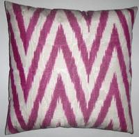 Pillows - IKT067 Silk/cotton ikat pillow cover - fuchsia, ikat, pillow