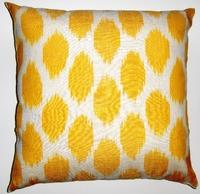 Pillows - IKT112 Silk/cotton ikat pillow cover - yellow, ikat, pillow