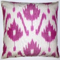 Pillows - IKT078 silk/cotton ikat pillow cover - pink, ikat, pillow