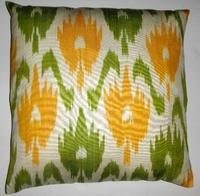 Pillows - IKT45 Silk/cotton ikat pillow cover - green, yellow, ikat, pillow