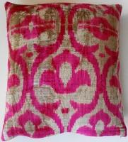 Pillows - IKT149 Silk velvet ikat pillow cover - velvet, ikat, pillow, pink