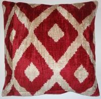 Pillows - IKT152 Silk velvet ikat pillow cover - red, ikat, pillow