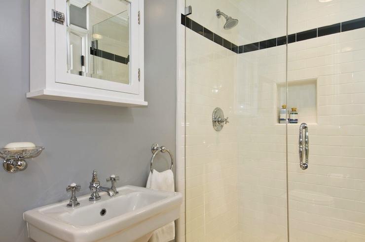 White and gray bathroom contemporary bathroom jeff for Jeff lewis bathroom design ideas