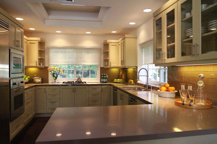 Grey Countertops Contemporary Kitchen Jeff Lewis Design