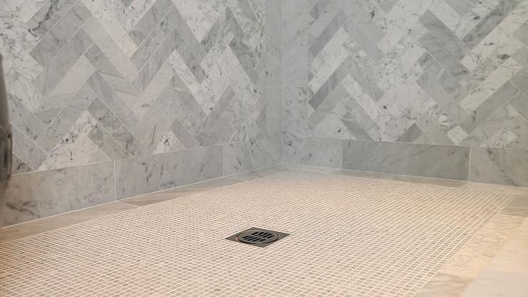 Herringbone Shower Contemporary Bathroom Jeff Lewis Design