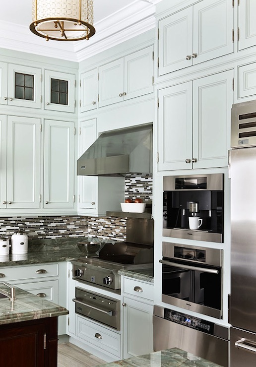 Traditional Home - kitchens - gray, kitchen cabinets, built-in, plumbed, Miele, coffee maker, gray blue cabinets, gray blue kitchen cabinets, blue gray cabinets, blue gray kitchen cabinets,