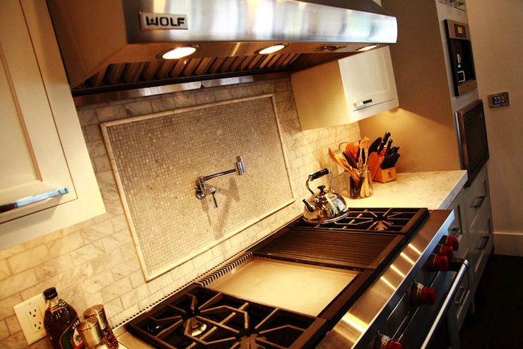 Iridescent inlaid tiles contemporary kitchen jeff Italian marble backsplash