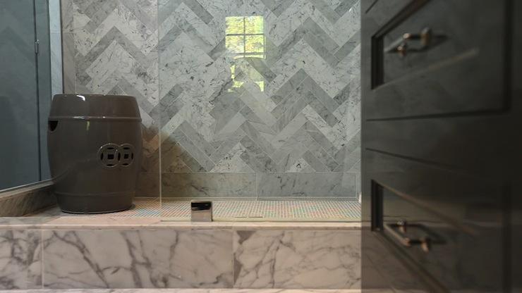 Marble herringbone tile contemporary bathroom jeff for Jeff lewis bathroom design ideas