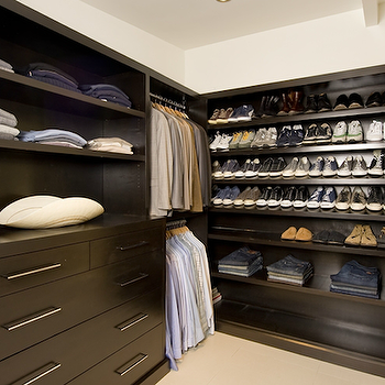Jeff Lewis Design - closets - espresso, stained, shoe shelves, cabinets, espresso cabinets, espresso closet cabinets,  Super organized closet