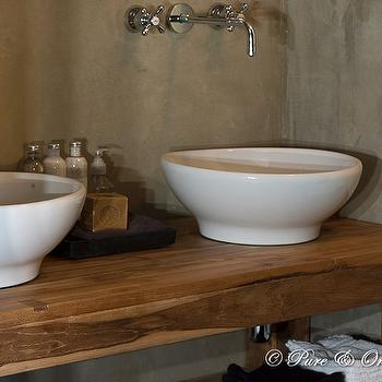 Pure & Original - bathrooms - textured, walls, wood, washstand, polished nickel, wall-mount, faucets, white, vessel, sinks, rustic bathroom, rustic bathroom design,