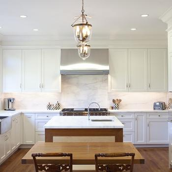 Upscale Construction - kitchens - white, shaker, kitchen cabinets, marble, slab, countertops, backsplash, stainless steel, apron, sink, sink in kitchen island, lanterns, white shaker cabinets, white shaker kitchen cabinets, white kitchen, all white kitchen,
