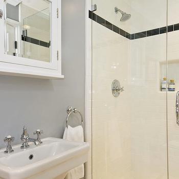 White and Gray Bathroom, Contemporary, bathroom, Jeff Lewis Design