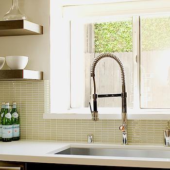 Green Glass Tile Backsplash, Contemporary, kitchen, Jeff Lewis Design