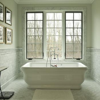 Marble Herringbone Floor, Transitional, bathroom, Cynthia Lynn Photography
