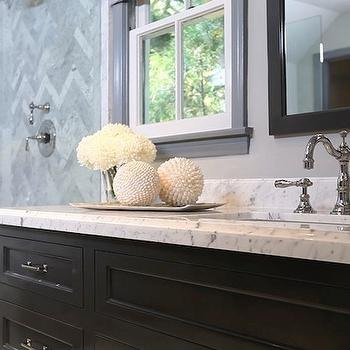 Black Vanity with White Marble Countertop, Contemporary, bathroom, Jeff Lewis Design