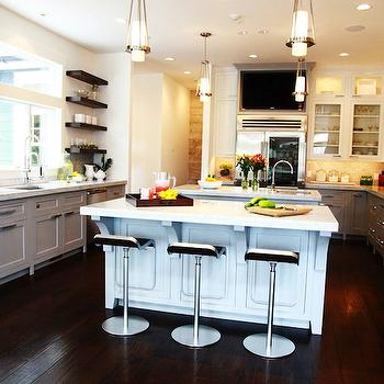 Jeff Lewis Design - kitchens - white, top, kitchen cabinets, gray, base, kitchen cabinets, marble, countertops, twin, kitchen islands, marble, countertops, marble, subway tiles, backsplash, brown, floating shelves, light gray cabinets, light gray kitchen cabinets,
