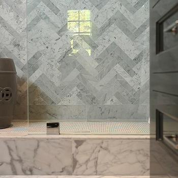 Jeff Lewis Design - bathrooms - charcoal, gray, garden stool, seamless glass shower, marble, herringbone, tiles, shower surround, herringbone tiles, herringbone backsplash, marble herringbone tiles, marble herringbone shower, bathroom herringbone shower surround, herringbone bathroom tile, marble herringbone tile shower,