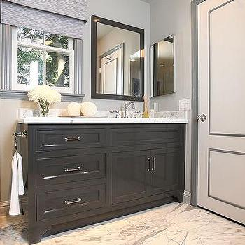 Jeff Lewis Design - bathrooms - gray, door, window, mouldings, glossy, black, single bathroom vanity, marble, top, seamless glass shower, marble, herringbone, tiles, shower surround, marble, tiles, floor, gray moldings, gray door moldings, white and gray door,