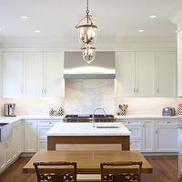 Upscale Construction - kitchens - white, shaker, kitchen cabinets, marble, slab, countertops, backsplash, stainless steel, apron, sink, sink in kitchen island, lanterns,