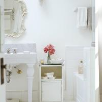 Reed Davis Photography - bathrooms - vintage, white, ornate, mirror, 2 leg, washstand, marble, backsplash, white, bathroom cabinet,  Chic, vintage