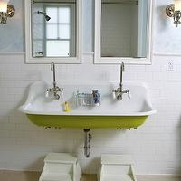 Upscale Construction - bathrooms - blue, walls, white, mirrors, cast iron, utility, sink, white, stools, kohler sink, utility sink, brockway sink,
