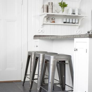 Kvanum - kitchens - white, kitchen cabinets, limestone, countertops, beadboard, walls, industrial bar stools, industrial counter stools, industrial barstools, industrial counter stools, Tolix Marais Stool,