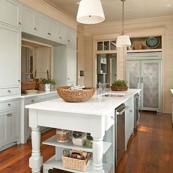 Southern Living - kitchens - gray, green, walls, marble, countertop, twin, stainless steel, dishwashers, flanking, sink in kitchen island, Single Sloane Street Shop Light with Linen Shade,