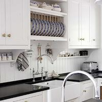 Kvanum - kitchens - white, kitchen cabinets, glossy, black, quartz, countertops, farmhouse, sink, beadboard, backsplash, polished nickel, bridge, gooseneck, faucet, beadboard backsplash, beadboard kitchen, kitchen beadboard, white beadboard, white beadboard backsplash, beadboard sink backsplash, sink backsplash, beadboard kitchen, beadboard kitchen backsplash, white beadboard kitchen,