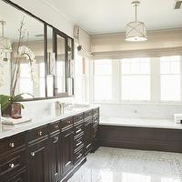 Tim Barber - bathrooms - marble, tiles, floor, glossy, brown, built-in, bathroom cabinets, marble, top, espresso cabinets, espresso bathroom cabinets, stained cabinets, stained bathroom cabinets, espresso vanity, espresso bathroom vanity, , Grosvenor Single Pendant, Robert Abbey Drexel Collection Wall Sconce,