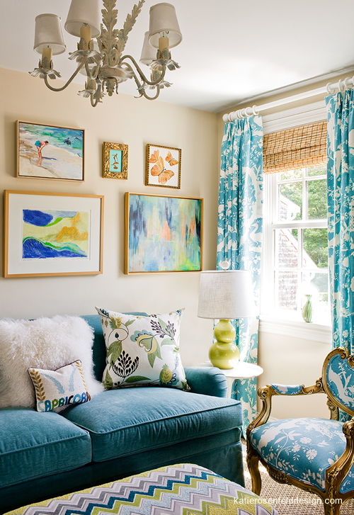 Turquoise Sofa - Contemporary - living room - Katie Rosenfeld Design