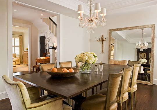 Paul Corrie Interiors - dining rooms - Benjamin Moore - Soft Chamois - floor mirror, linen, square back, dining chairs, velvet, tufted, captain, dining chairs, brass, tacks, mediterranean dining room, mediterranean dining room design,