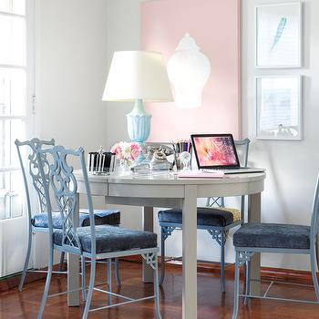 Samantha Pynn - dining rooms - pink, art, baby blue, chippendale, chairs, blue, velvet, cushions, glossy, white, lacquer, dining table, blue, urn, lamp, blue dining chairs, blue chairs, chippendale chairs, blue chippendale chairs,