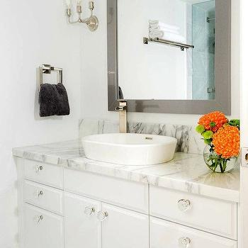 Buchman Photo - bathrooms - gray, mirror, marble, herringbone, tiles, floor, extra-wide, white, single bathroom vanity, marble, countertop, vessel, sink, gray mirror, gray bathroom mirror, gray lacquer mirror, gray lacquered mirror, rectangular gray mirror, gray rectangular mirror,
