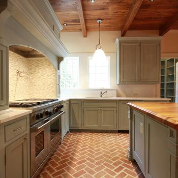 Brick Floor Kitchen, Transitional, kitchen, Jones Pierce Architects