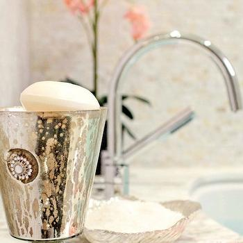 Buchman Photo - bathrooms - vignette, travertine, tiles, mercury glass, vase, mercury glass accessories, mercury glass bathroom accessories, mercury glass bathroom accents,