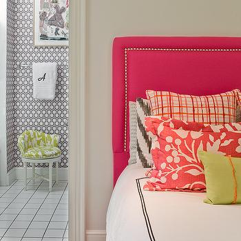 Katie Rosenfeld Design - girl's rooms - white, vanity, chair, green, toile, fabric, zebra, rug, hot pink, headboard, silver, nailhead trim, gray, ikat, pillows, coral, linen, pillows, green, pillows, white, hotel duvet, black, stitching, hot pink headboard, studded headboard pink studded headboard, pink nailhead headboard,