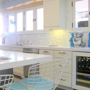 Palmer Weiss - kitchens - wine cooler, white, kitchen cabinets, bamboo, roman shades, turquoise, blue, foo dogs, blue accents, blue kitchen accents, turquoise foo dogs,